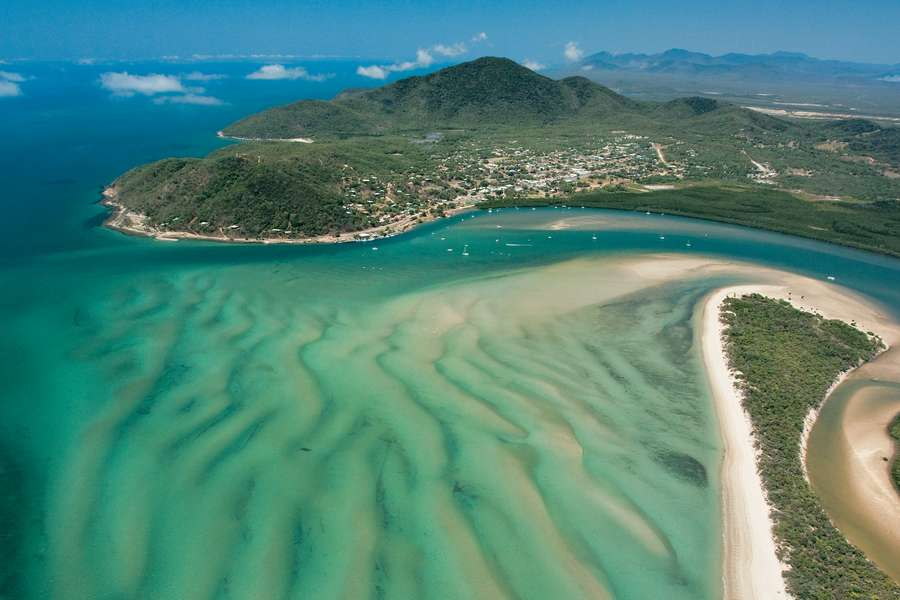 Cooktown from the air view of the inlet mountains and township
