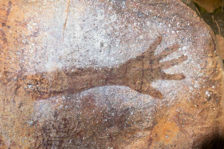 classic hand stencil done by an ancient aboriginal culture
